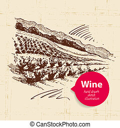 Wine vintage background with banner. Hand drawn sketch illustration of landscape