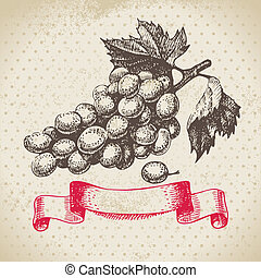Wine vintage background with grapes. Hand drawn illustration