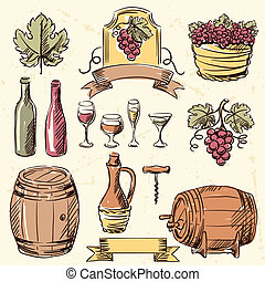 Wine vintage hand drawn set.