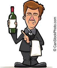 Wine Waiter Cartoon - Sommelier Presenting a Bottle of Wine