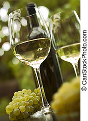 wine - white win in glass outside close up shoot