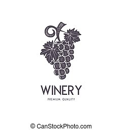 Wine, winery logo template. Drink, alcoholic logotype, beverage symbol, monogram. Vine icon and typography. Winery, premium quality sign. Stock vector illustration isolated on white background