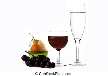 Wine With Grapes And Dessert