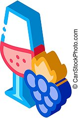 wine with grapes icon vector. isometric wine with grapes sign. color isolated symbol illustration