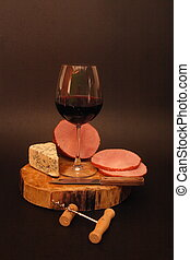 Wine with ham and cheese
