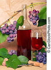 wine with red bunch of grape