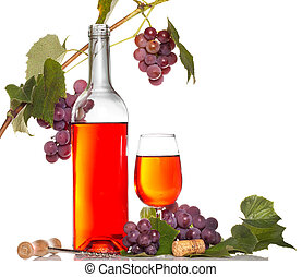 wine with red grape branch isolated on white