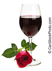 Wine with red rose - Romantic glass of red wine with long...