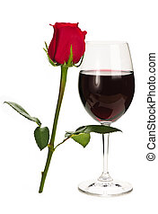 Wine with red rose