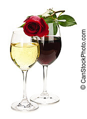 Wine with red rose - Romantic rose on top of red and white...
