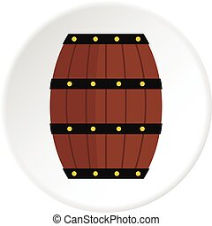 Wine wooden barrel icon circle - Wine wooden barrel icon in...