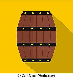 Wine wooden barrel icon, flat style