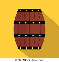 Wine wooden barrel icon, flat style - Wine wooden barrel...