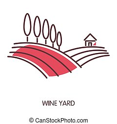 Wine yard promotional emblem with wide fields and trees