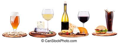 wine,beer,cola and food - wine, beer, ice, food, grapes,...