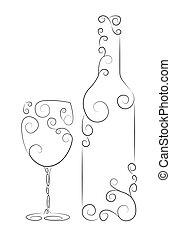 Wine Bottle and Glass - Ornamental representation of bottle...