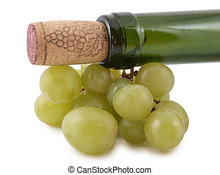 Winebottle and grapes