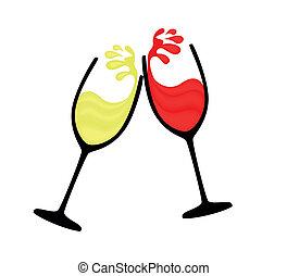 wineglass, の, 赤い、そして白い, ワイン
