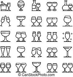 wineglass, アイコン, スタイル, アウトライン, セット