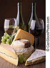 wineglass, チーズ, そして, ブドウ
