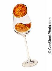 wineglass, com, secado, fatia alaranjada, dentro, sobre, branca, experiência.