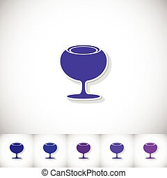 Wineglass. Flat sticker with shadow on white background