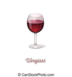 wineglass icon. Realistic vector illustration.