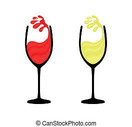 Wineglass of red and white wine with a splash
