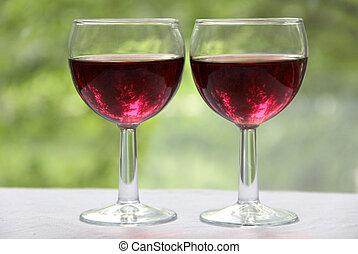 Wineglass on table three