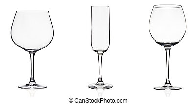 Wineglass - Pack of 3 pics of wine glasses isolated on...