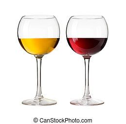 Wineglass - Red wine glass and white wine glass isolated on...