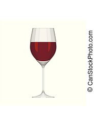 Wineglass with red wine isolated on white background. Alcoholic drink wine glass in flat style. Vector illustration