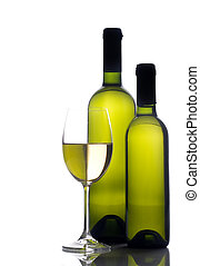 wineglass with two wine bottles