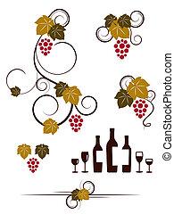 wineglassas, raisin, set., vignes