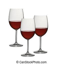 wineglasses, 上に, a, 白い背景