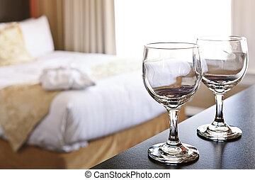 wineglasses, em, quarto hotel