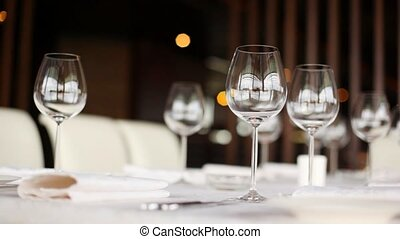 Wineglasses for wine stand on table, closeup