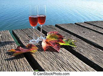 wineglasses, madeira, licenças dois, jetty, outono