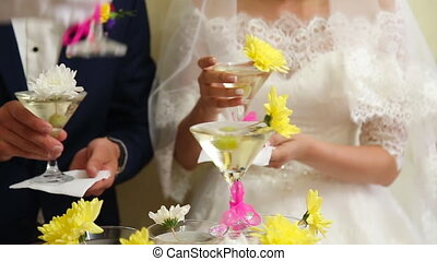 Empty wineglasses pyramid on wedding