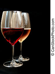 Wineglasses with red and white wine
