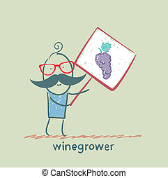 winegrower, asideros, un, bandera, con, uvas