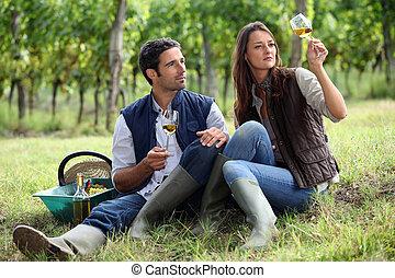 winegrowers, 恋人, ガラス, ワイン