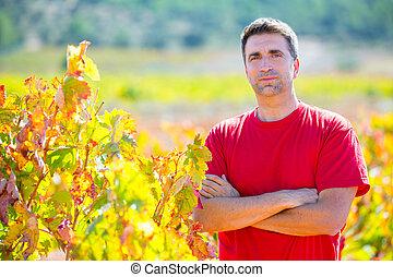 winemaker, el suyo, segador, orgulloso, viña, granjero