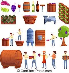 Winemaker icons set, cartoon style