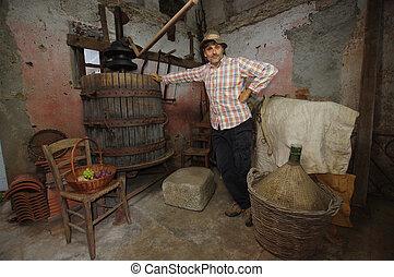 winemaker, presse, raisins