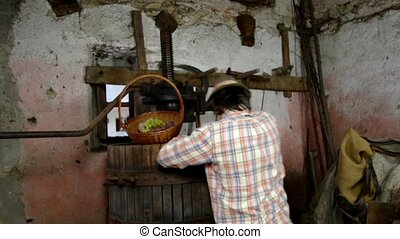 winemaker working with old grapes press