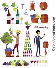 Winemaking Icon Set. Vintage Elite Strong Wine