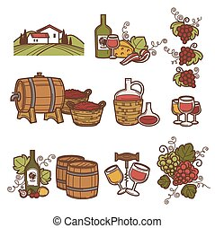 Winemaking or wine production viticulture icons set. Vector...
