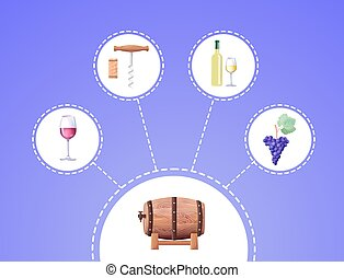 Winemaking Process Vector Illustration on Blue - Winemaking...