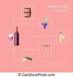 Winemaking Process Vector Illustration on Red - Winemaking...